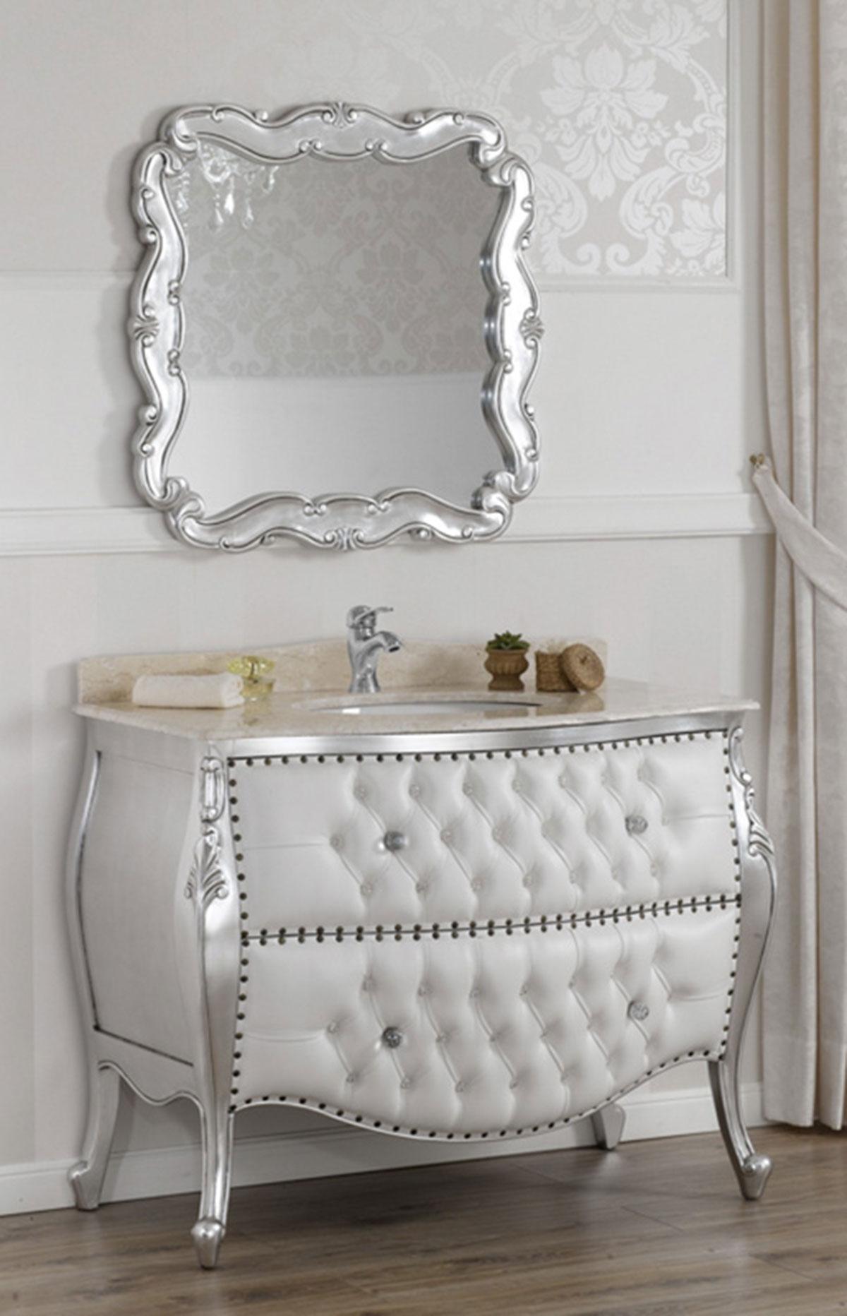 Meuble salle de bain avec miroir style baroque moderne - Meuble de salle de bain style baroque ...