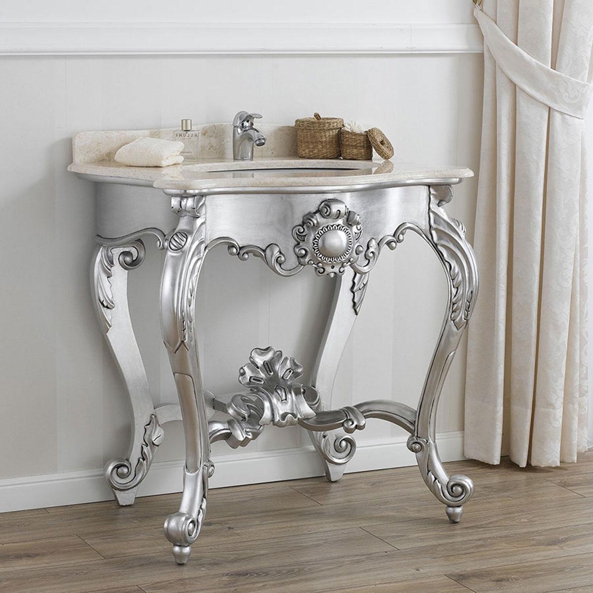 console meuble salle de bain luigi filippo style baroque moderne feuille argent ebay. Black Bedroom Furniture Sets. Home Design Ideas