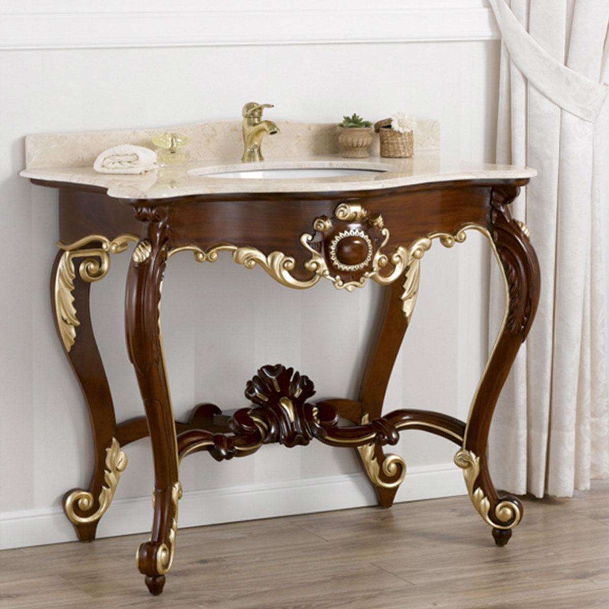Console meuble salle de bain luigi filippo style baroque anglais meuble noyer et ebay - Console salle de bain ...
