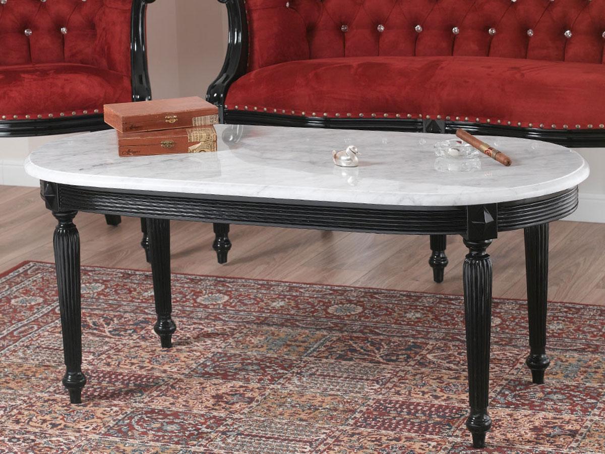 Détails sur Table basse de salon Isabelle style Baroque Dark noir laqué marbre blanc Carrara
