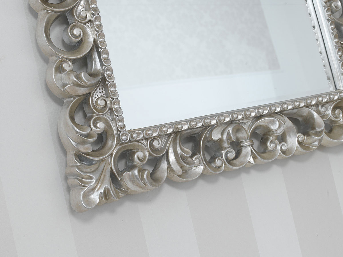 Miroir luxe Zaafira style Baroque cadre perforé feuille argent vieilli miroir bi